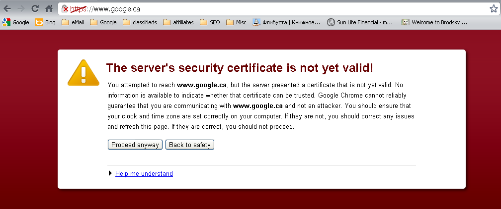 Google security certificate expired on St. Patrick